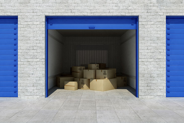 Cardboard boxes in a self storage unit.
