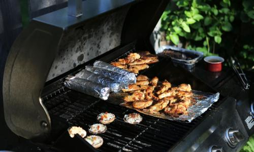 Large gas grill with vegetables