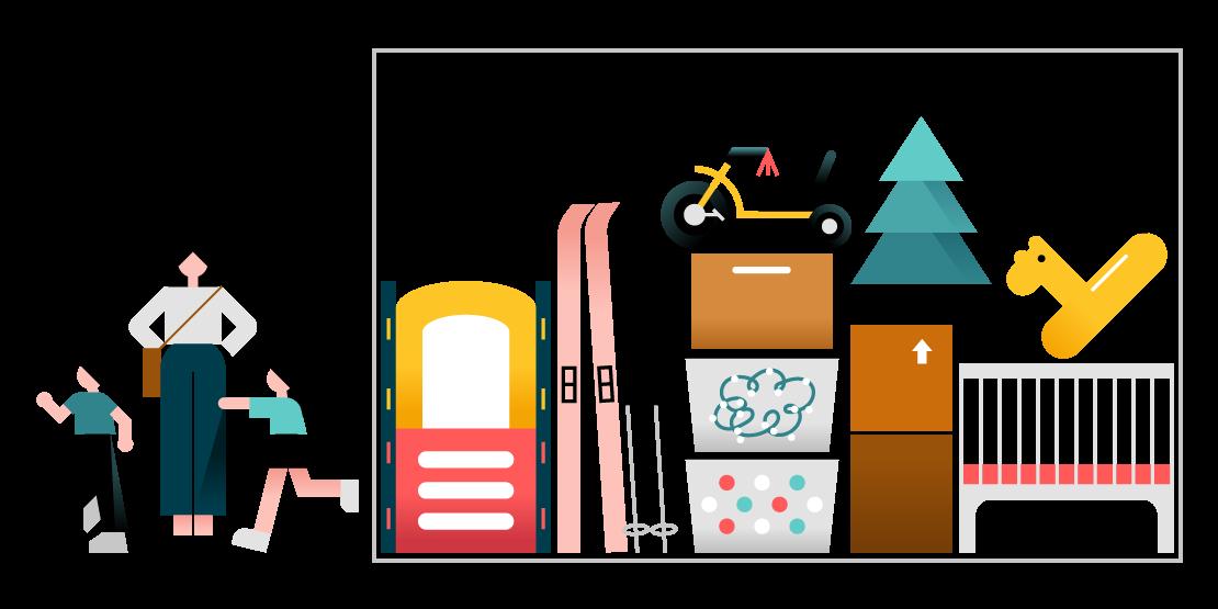 Les articles courants dans une unité d'entreposage de taille moyenne, incluant des skis, des bacs de rangement, un sapin de Noël et des jouets.