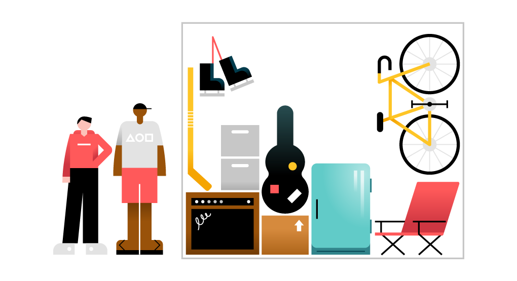 Artículos típicos en una unidad de almacenamiento pequeña, como por ejemplo documentos, patines, una guitarra y una bicicleta.
